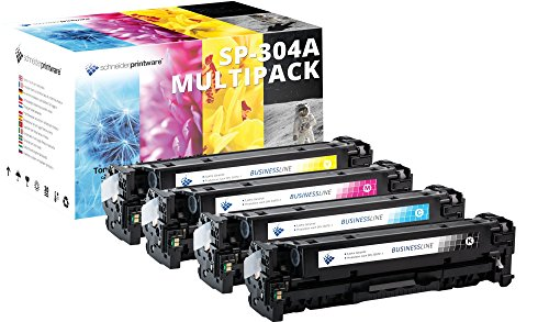 4 Schneider Printware Toner | 30 Prozent mehr Druckleistung | kompatibel zu HP 304A für HP Color Laserjet CP2025 CP2025dn CP2025n CM2320fxi MFP CM2320nf MFP CC530A CC531A CC532A CC533A -