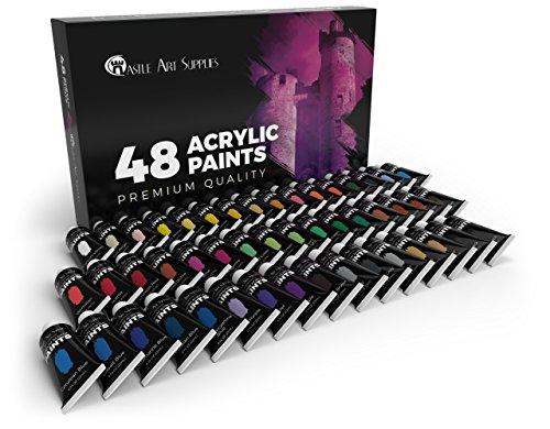 confronta il prezzo Castle Art Supplies, set di colori acrilici, 48 colori vivaci con tubi di grandi dimensioni, il kit premium per artisti, principianti o bambini miglior prezzo