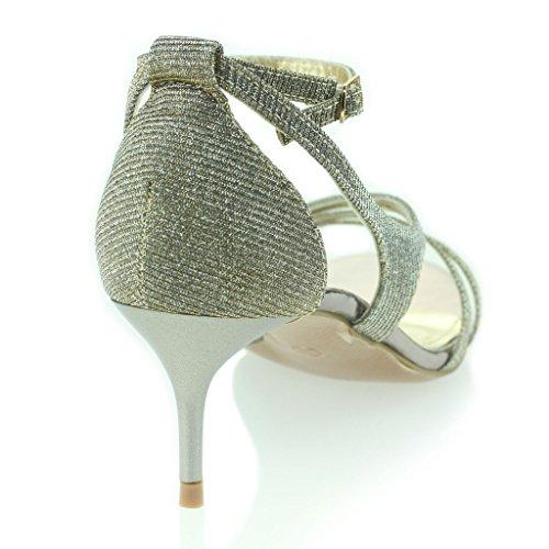 Femmes Dames Orteil Ouvert Sangle de Cheville Mince Talon Moyen Soir Fête Mariage Bal de Promo Sandales Chaussures Taille Étain