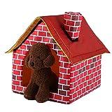 Jasnyfall Portable Brick Pet House mit Kamin Warm und Gemütlich Hund Katze Bett Haustier Zelt (Farbe: Rot)