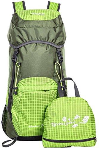 Wantdo Super Lightweight Water Resistant Hiking Backpack and Folding Handy Backpack Daypack and Climbing Camping Outdoor Sports Travel Backpack Bag Green 40L
