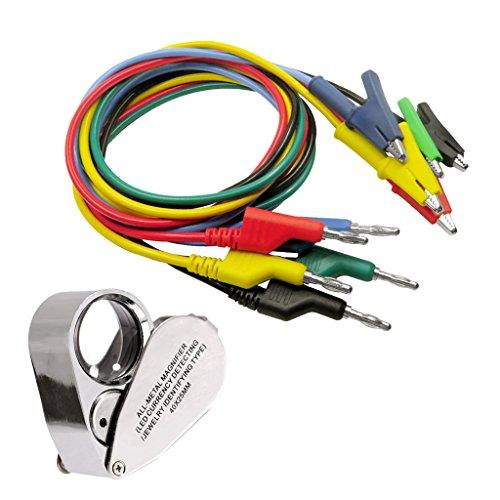 Homyl Multimeter Messleitungen Test Kabel Messleitungen Multimeter Zubehör +40 Fach LED Lupe Vergrößerungsglas