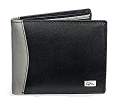 Gentleman Genuine Leather Mens Stylish Wallet for Boys Black Gray Bi Fold with 6 Credit Debit Cardholder