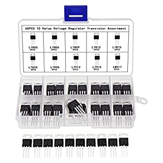 Aussel Voltage Regulator IC Assortment Kit L7805CV L7806 L7809 L7812 L7815 L7824 L7905 L7912 L7915 LM317 10Values 60PCS