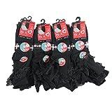 IMTD 12pairs Cute Girls Cotton Blend Frilly Lace Socks Ballet Dance Wedding Bridesmaid School Socks Black UK Shoe Size 4-6