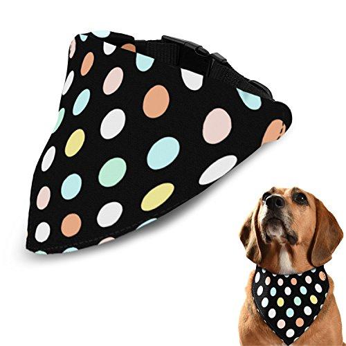 Poppypet Halstücher für Haustier, Mode Design Halstuch für Hunde oder Katzen, Hunde Bandana Bequeme Stoffe Haustier Schal Punkte Muster 29cm- 48cm Verstellbare Schwarz