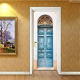 Svsnm Kreative Türaufkleber Tapete Blau Eisentor Wandaufkleber DIY Wandbild Poster PVC Wasserdichte Schlafzimmer Wohnkultur 77X200 cm