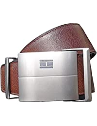 Sunshopping men's brown and black reversible auto lock buckle pu leather belt (dt br rm)