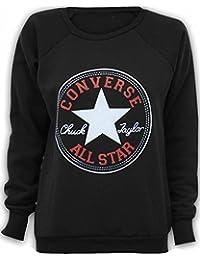 Papermoon - Damen 'Converse' Logo Druck Langarm Sweatshirt Top - Schwarz - 36-38