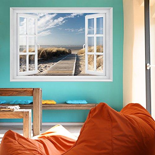 FOTOTAPETE ,,Beach Window 2T1′ 127cm x 183cm Fenster Ausblick Meer Strand Dünen Ozean ocean way Tapete inklusiv Kleister - 6