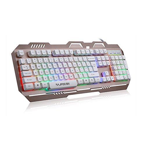 RAJFOO 7Colorful Hintergrundbeleuchtung Englisch Gaming Tastatur für PC Laptop Macbook mit Floating Tastenkappe LED-Hintergrundbeleuchtung USB Teclado Gamer weiß