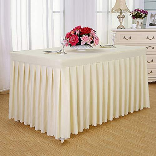 Nappe oblongue en lin et coton, jupe de table plissée blanche - Attache facile en tissu polyester - Lavable en machine - Fête d'anniversaire Mariage et célébrations officielles