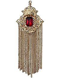ceb04a4ba0c Panjatan Men's Crown and Red Crystal with Bunch of Golden Chain Pin Brooch:Premium  Quality
