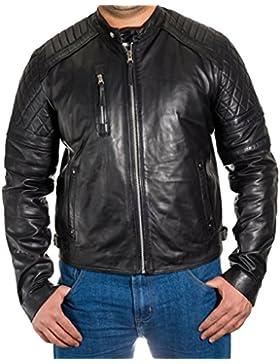 Hombres acolchados y de cordoncillo retro cabida Biker chaqueta abotonar sujetador Collar