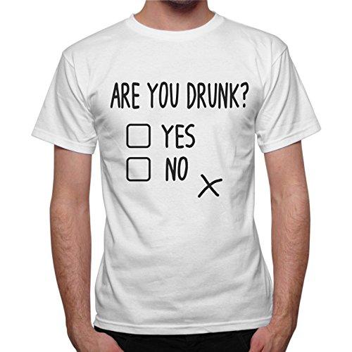 T-Shirt Uomo Are You Drunk? Frase Simpatica - Bianco