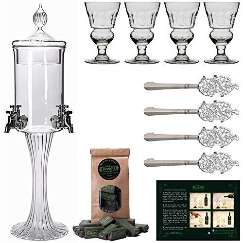 ALANDIA Absinth Zubehör Set Chat IV | 1X Absinth-Fontäne | 4X Absinth-Gläser | 4X Absinth-Löffel | 1X Absinth-Zucker