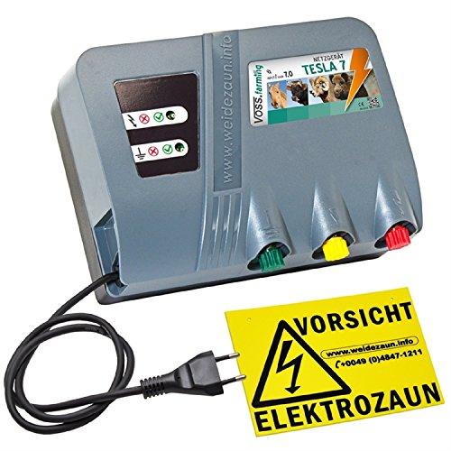 """Weidezaungerät """"TESLA 7"""" von VOSS.farming - Extra Power: 230V, 10000 Volt , 7 Joule, für lange Zäune, starker Bewuchs"""