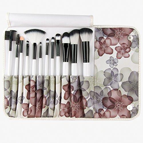 Lychee 12pcs Pinceaux de Maquillage Cosmétique Pro Belle Souple Manche en Bois Make Up Brush Set Kit de Pinceaux avec Housse Florale Style