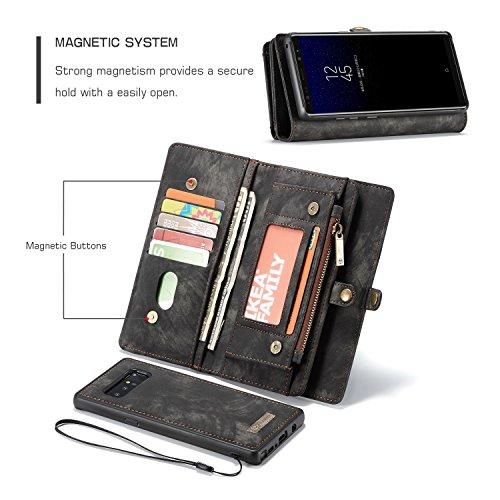 Haoweiwei Für Samsung Galaxy Note 8 Luxus handgefertigte Trifold Leder Brieftasche Fall mit abnehmbaren Rückendeckel & Magnetverschluss & Card Slot & Zipper & Landyard (Color : Black) -