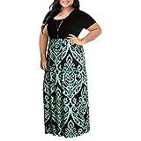 KPILP Femme 2019 Printemps et été Robes Imprimé De Fleurs Col Rond Manches Longues Grande Robe Femme O-Cou Confortable Polyester Décontracté Robes(X2-Vert,FR-52/CN-4XL)