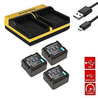 Dual-Ladegerät + 3x Akku für VW-VBG260 VBG-260 PANASONIC HDC-DX1,HDC-DX1EG-S