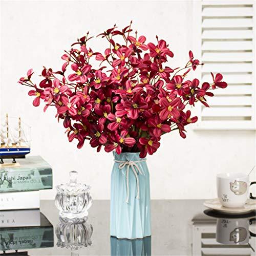 ADLFJGL Kunstblumen Im Topf,Primeln Künstliche Blumen Brauthochzeitssträuße Wohnzimmermöbel Künstliche Blumen Geburtstagsfeier Blumendekorationen Rot 2
