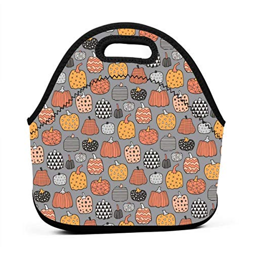 Clothes socks Portable Bento Lunch Bag,Geometric Pumpkin Fall Halloween In Orange On Grey Tiny for Kids Adult Thermal Insulated Tote Bags (Halloween Fun Kid Snacks Für)