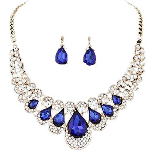 Sunnywill Gemischte Farbe in Böhmen Stil Bib Kette Halskette Ohrringe Schmuck für Frauen Mädchen Damen (Blau)