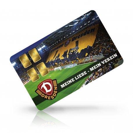Limitierte Motivkarte Dynamo Dresden - Gold, 4 Gramm