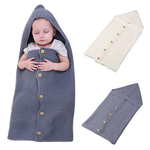 Neugeborene Baby Swaddle Decke SOFT Knit Wrap Sleep Tasche, oenbopo Baby Kids Kleinkind Hooded Knit Decke SWADDLE Sack Buggy Wrap Kinderbett Decke 38,1x 71,1cm für 0–12Monate