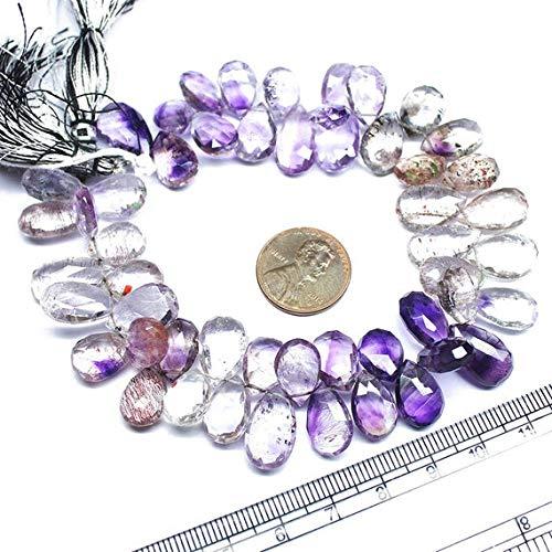 Earth Gems Park Super Fine Quality Gems Jewelry Moss Rutile Amethyst Quartz Faceted Pear Drop Gemstone Craft Loose Beads Strand 9