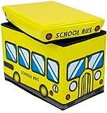 Faltbare Kinder Sitzbank mit Geheimfach - School Bus Motiv 49 x 31 x 31 cm - Kunstleder Box mit Sitzpolster - Grinscard
