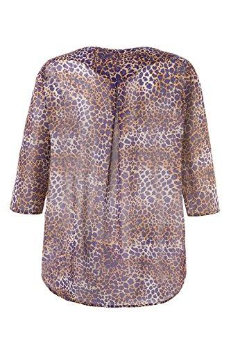 Ulla Popken Femme Grandes Tailles | Tunique Longue Voile Transparent Léopard Manches Longues Chic Femme | 712253 Multicolore