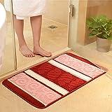 MKSFY Rutschfeste saugfähige Bodenmatte Türstreifen Können maschinell Gewaschene Teppichmatten für Badezimmer Küche Studie Schlafzimmer Korridor Eingangstür Wohnzimmer Wein Rot, Zweiteilig Sein