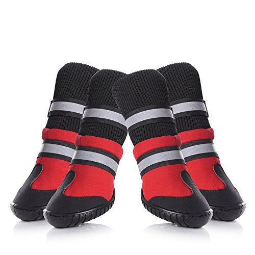 Petacc 4Pcs Hundeschuhe Anti-Rutsch Haustier Schuhe Warme Hunde Stiefel Gummi Haustier Stiefel Pfotenschutz für Hund Rot (L)