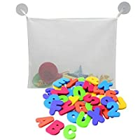 Welecom 36 pcs Alphabet Baby Bath Toy Foam Letters Numbers with 37CM Bath Toy Storage Organizer Bag