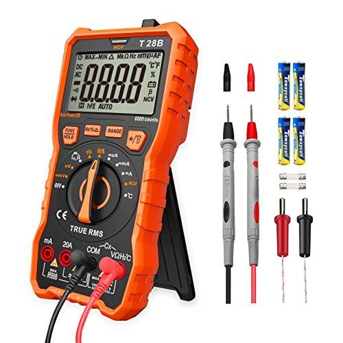 LOMVUM Multimètre numérique testeur, TRMS 6000 compte voltmètre à plage automatique; Mesure testeur de tension, courant, résistance, continuité, fréquence; Tests Diodes, Transistors, Température