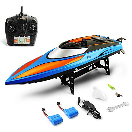 GizmoVine Ferngesteuerte Boote, RC Boote mit 30km/h Schnelle Geschwindigkeit, 2,4 GHz Funkfernsteuerung Zusätzlicher Akku für Erwachsene und Kinder (blau & orange)