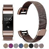 Moocci Armband Kompatibel Fitbit Charge 2 Armband, Milanese Edelstahl Ersatz Klassisch Smart Watch Armbänder, Sports Ersetzerband Fitness Uhrenarmband