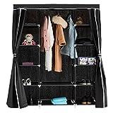 COSTWAY Kleiderschrank Stoffschrank Textilschrank Garderobenschrank Faltschrank Wäscheschrank Campingschrank mit Kleiderstange 152x47x180cm (Schwarz)