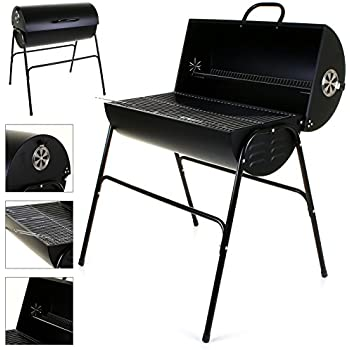 black steel oil drum bbq charcoal grill smoker barrel barbecue with lid wheels. Black Bedroom Furniture Sets. Home Design Ideas