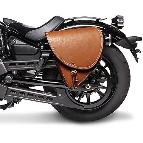 Alforja Para Moto Custom Indiana Marrón Izquierda