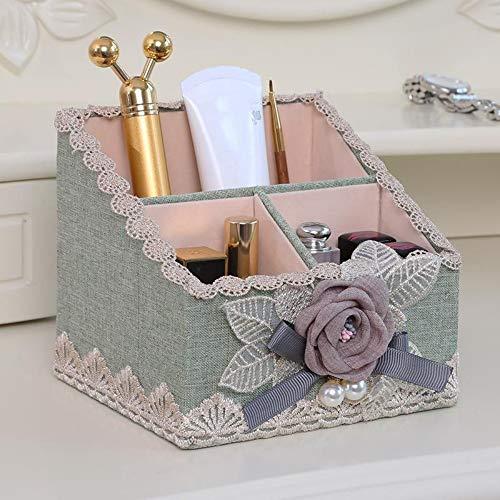 ZUXIANWANG Schmuck Box Aufbewahrungsbox Mode Exquisite Kosmetik Aufbewahrungsbox Desktop Remote Control Make-up-Pinsel Rohr Halterung Schminktisch Kombination Container Storage Box -