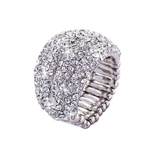 Große Ringe Modeschmuck (Jane Stone Damenring silberfarben Kristall Modeschmuck breiter elastischer Ring aus Strass und)