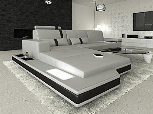 Divanova | divano moderno proxima angolare in vera pelle e similpelle - grigio e nero