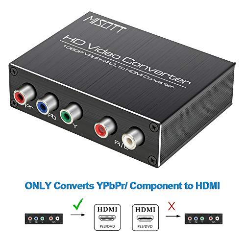 MISOTT Komponente zu HDMI Konverter, 5RCA Komponente RGB YPbPr zu HDMI Konverter Unterstützt 1080P HDCP Konverter Adapter für DVD PSP Sky Xbox 360 PS2 Nintendo NGC zu Neuem HDTV Monitor oder Projektor Digitale Komponente