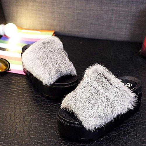DM&Y 2017 Coreano pantofole fondo pesante felpa pantofole tacco alto reale di coniglio pantofole donne di parola focaccina White