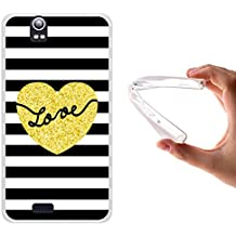 Funda Kazam Trooper 450, WoowCase [ Kazam Trooper 450 ] Funda Silicona Gel Flexible Chic Style Corazón con Rayas, Carcasa Case TPU Silicona - Transparente