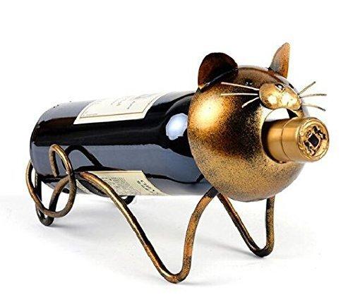 URGrace Gierige Katze Design Weinhalter Rotwein Rack Flasche Glas Rack Wein Regal Metall Skulptur Home Handwerk Dekoration (Cat-wein-flaschen-halter)
