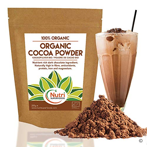 Cocoa Powder - Organic Vegan Dark Chocolate Ingredient - unsweetened, Dairy Free and Ideal for Baking, hot Chocolate Drinks and Smoothies - 200g